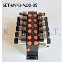 Set: Fünf Modulare Magnetventile 4/3-Wege 12V DC...